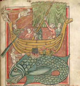 Whale and boat, from a 13th century bestiary -